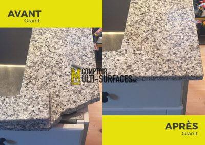 Réparation de comptoir de Granit